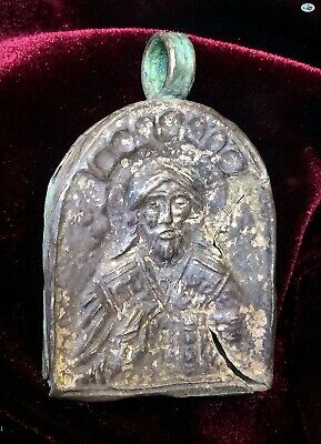 "Scarce Ancient 10-12th Century ""Pantokrator"" Byzantine Christ Silver Pendant"