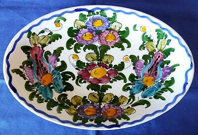 Vintage 1993 Greek Hand Painted Oval Pottery Plate Dish Island of Skyros Signed