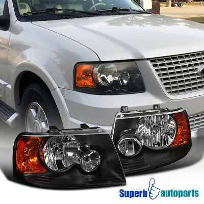 2003 2006 Ford Expedition Black Headlights Clear Lens Headlamps Replacement