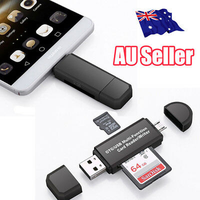 Micro USB OTG to USB 2.0 Adapter SD/Micro SD Card Reader For Smartphones/PC 4C