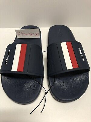 65ad5cb87 Tommy Hilfiger Eastern Slides Sandals Dark Blue Red White Men s Size 10