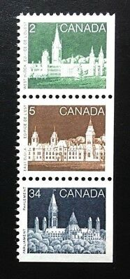 Canada #939 941 947 APP MNH, Parliament Booklet Strip of Stamps 1985