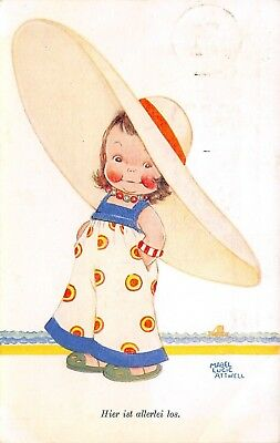 Mabel Lucie Attwell~Little Girl Seaside~Here is All Sorts Going On~Germany 1932