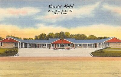 Zion Illinois~Murrie's Motel~Roadside US 41~c1950s Linen Postcard