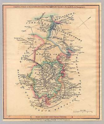Antique Road Map-Wales-England - Kupferstich 1815