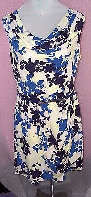 62af1bc64cc6 White And Blue Floral Sleeveless Dress With Belt Ruffled Neck Bnwt Oasis Uk  16