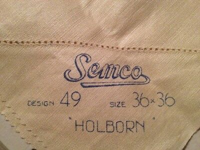 Vintage SEMCO Embroidery Pure Irish Linen Table Supper Cloth AS IS