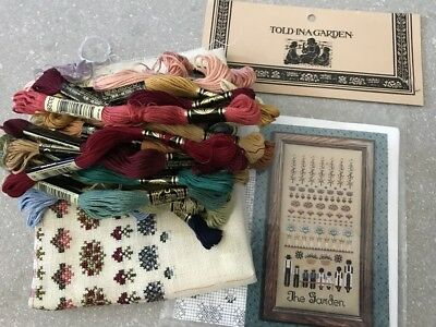 Told in a Garden Unfinished Cross Stitch Kit to be completed AS IS