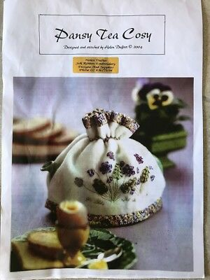 Helen Dafter Pansy Tea Cosy Ribbon Embroidery Kit AS IS