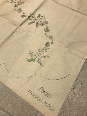 SEMCO vintage Embroidery Transfer Printed Apron Design AS IS
