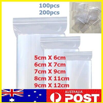 5pc-200pc AU Zip Lock Plastic Bags Reclosable Resealable Zipper 5 sizes Thick