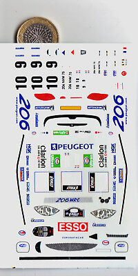 decals decalcomanie deco peugeot 206 tour de corse 2000  1/43