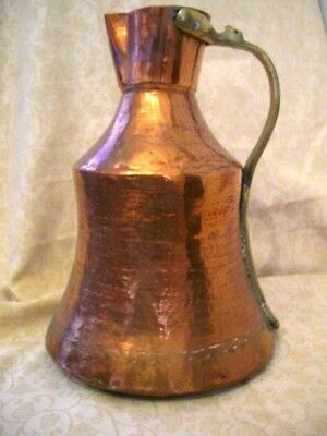 Hammered Bell Shaped Copper & Brass Water Jug Pitcher~LARGE ANTIQUE PRIMITIVE