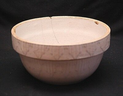 Old Antique Primitive Stoneware Crock Mixing Bowl Kitchen Tool  Picket Fence Dsn