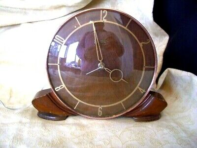Vintage Art Deco~Wooden & Copper Smiths Sectric Eletric Mantle Clock~Gwo