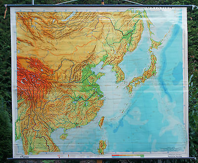 Schulwandkarte Wall Chart Roll Asian East China School Map 221x191