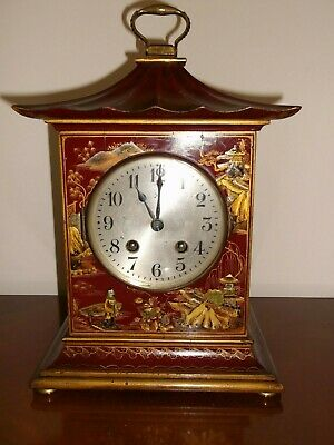 ANTIQUE HAC CHINOISERIE RED LACQUER 8 DAY PAGODA SHAPED CLOCK (33cm)