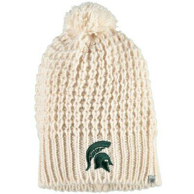 e0eccd7ae3d Michigan State Spartans Top of the World Women s Ivory Slouch Pom Knit  Beanie -