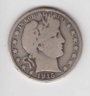 1915-D   BARBER HALF DOLLAR    90 % SILVER   FREE SHIPPING!   G To VG  CONDITION