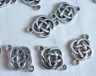 10 Antique Silver Coloured 24mmx18mm Celtic Knot 1-1 Connectors #3998 Findings