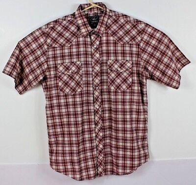 4a9f4fde Roper Mens L Red Short Sleeve Pearl Snap Button Front Shirt Plaid Western  EUC