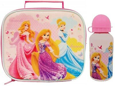 Disney Princess Lunch Box Bag + Bottle Set Childrens Kids Girls Baby Feeding New