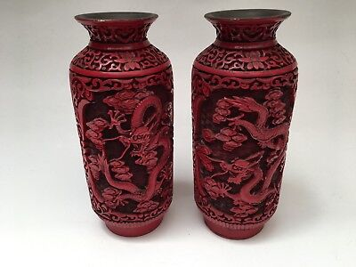 Beautiful PAIR Chinese Republic Period Carved Cinnabar Vase DRAGONS
