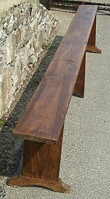 Antique chestnut pine BENCH settle French European large bench 3m seat 6-8 form