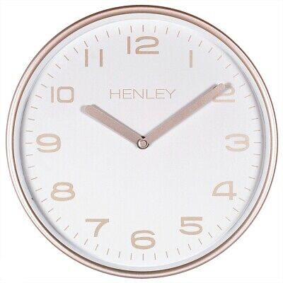 Light Bronze Metal Contemporary 32cm Wall Clock With Arabic Numbers By Henley