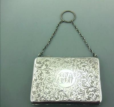 Edwardian Bright Cut Solid Silver Card Case & Aide Memoire