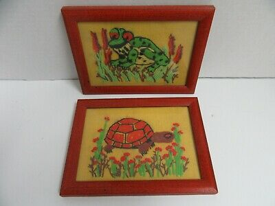 2 Finished Crewel Embroidery Frog & Turtle Completed Wood Framed 6x8.5 Vintage