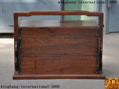 "14""Old Chinese Huanghuali Wood Hand carved Ancient food Storage Box Boxes statue"
