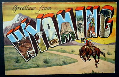 Large Letter Linen Postcard Greetings From Wyoming Cowboy Bucking Horse #8