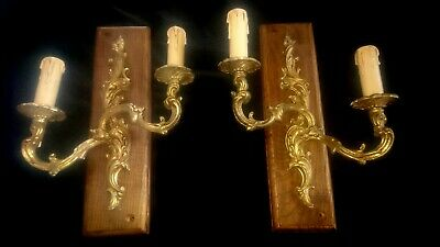 Pair Of Vintage Twin Brass Wall Lights