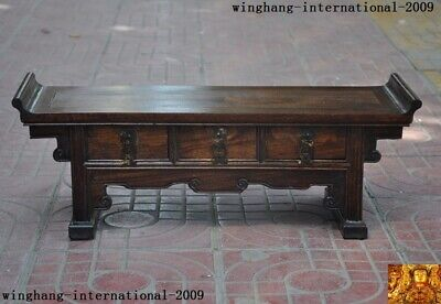 Old China Chinese Huanghuali Wood Carving Dynasty Drawer Cabinet desk Box Boxes