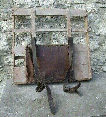 Antique vintage GLAZIERS BACK PACK glass carrier wood & leather workman tool