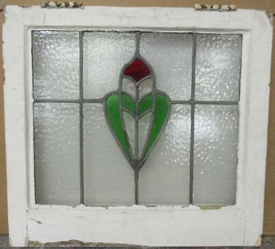 """OLD ENGLISH LEADED STAINED GLASS WINDOW Gorgeous Crest Design 20"""" x 18.25"""""""