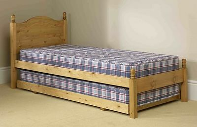 Solid Antique Pine 3Ft Guest Bed Frames Complete With Sprung Interior Mattresses