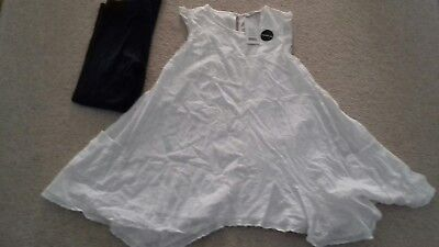 BNWT White Dress with Blue Leggings Set - From George - Age 10-11 years