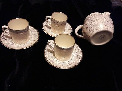 Antique Art Deco Thomas Forester & Son Phoenix Ware 3 coffee cans and creamer
