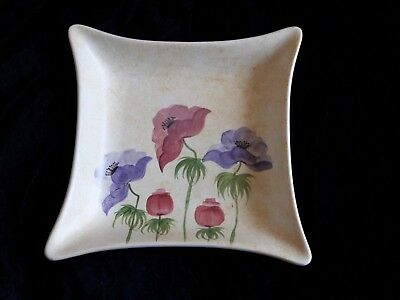 Edward Radford Pottery England Hand Painted Square Plate / Dish 901