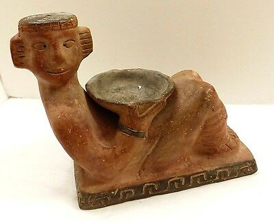 Vintage/Antique? Mesoamerican Reclining Chacmool Pottery Sculpture Offering Bowl