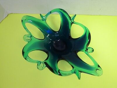 Murano Style Glass Dish Hand Blown Cobalt Blue Stretched And Formed