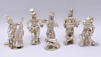 SUPERB SET OF 5 SOLID SILVER MUSICIANS BAND FIGURES. WEIGHT 879 grams / 31 ounce
