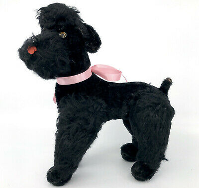 Steiff Snobby Black Poodle Dog Mohair Plush 22cm 9in 1960s no ID Vintage