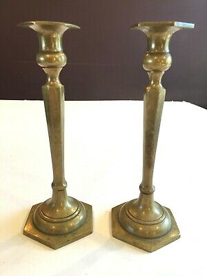 Pair of Large Heavy Antique Brass Candlesticks American c1880-1900 or earlier