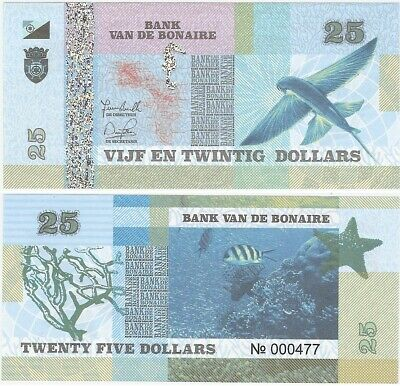 Netherlands - Bonaire 25 Dollars 2016 UNC Banknote - Flying Fish