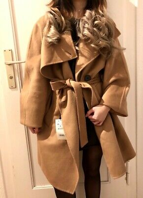 COAT WRAP WITH WICKELKRAGEN M MANTEL Camel MIT Gr ZARA neu gb6fYy7v