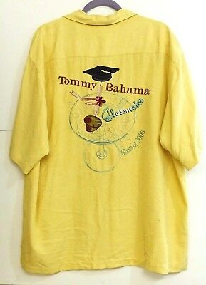 "GUC Tommy Bahama Mens Size M Yellow Embroidered ""Glass of 2006"" 100% Silk Shirt"