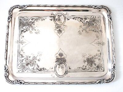 Antique Tray Silver Plate Aesthetic Medallion Portrait Face Greek Revival RARE
